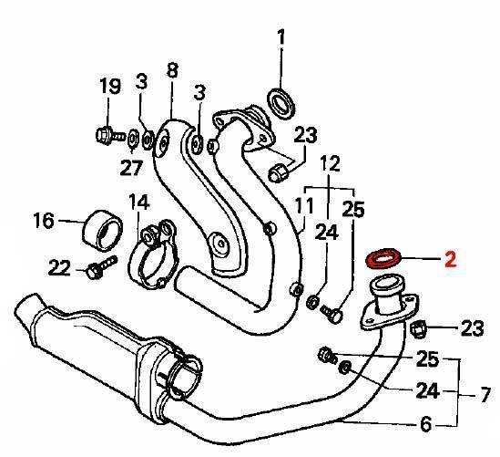 oem honda exhaust header gasket - front cylinder  07