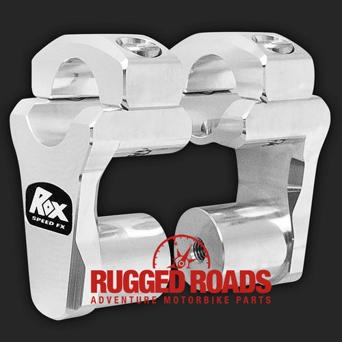 "Rox Risers - Pivoting 2"" Rise for 28mm handlebars (Fatbars) - SILVER"