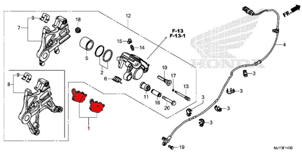 ... OEM Honda Rear Brake Pads   CRF1000 U0026 CRF1000 Adventure Sport (2016u003e)