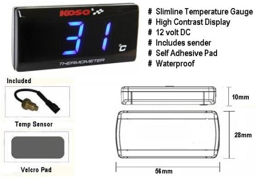 Koso Ultra Slim LCD Temperature Gauge BLUE