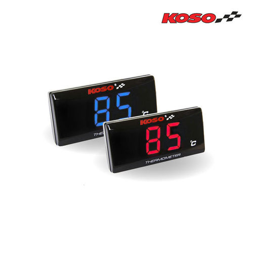 Koso Super Slim Temperature Gauge - Blue or Red