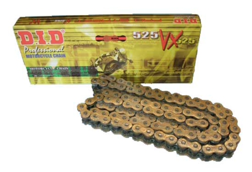 DID Chain - 525VX124 Pro-Street VX-Series Heavy Duty X-ring GOLD and BLACK