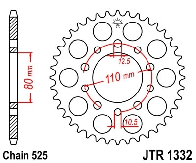 JT/Techcorps Rear Sprocket 48 Teeth for Africa Twin XRV750, CRF1000, CRF1100