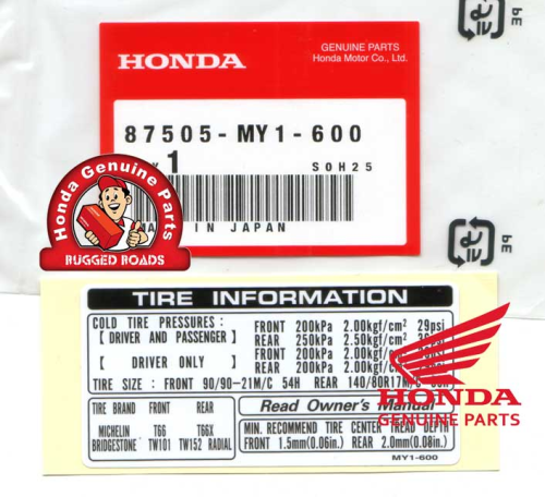 OEM Honda Decal - Tyre Information