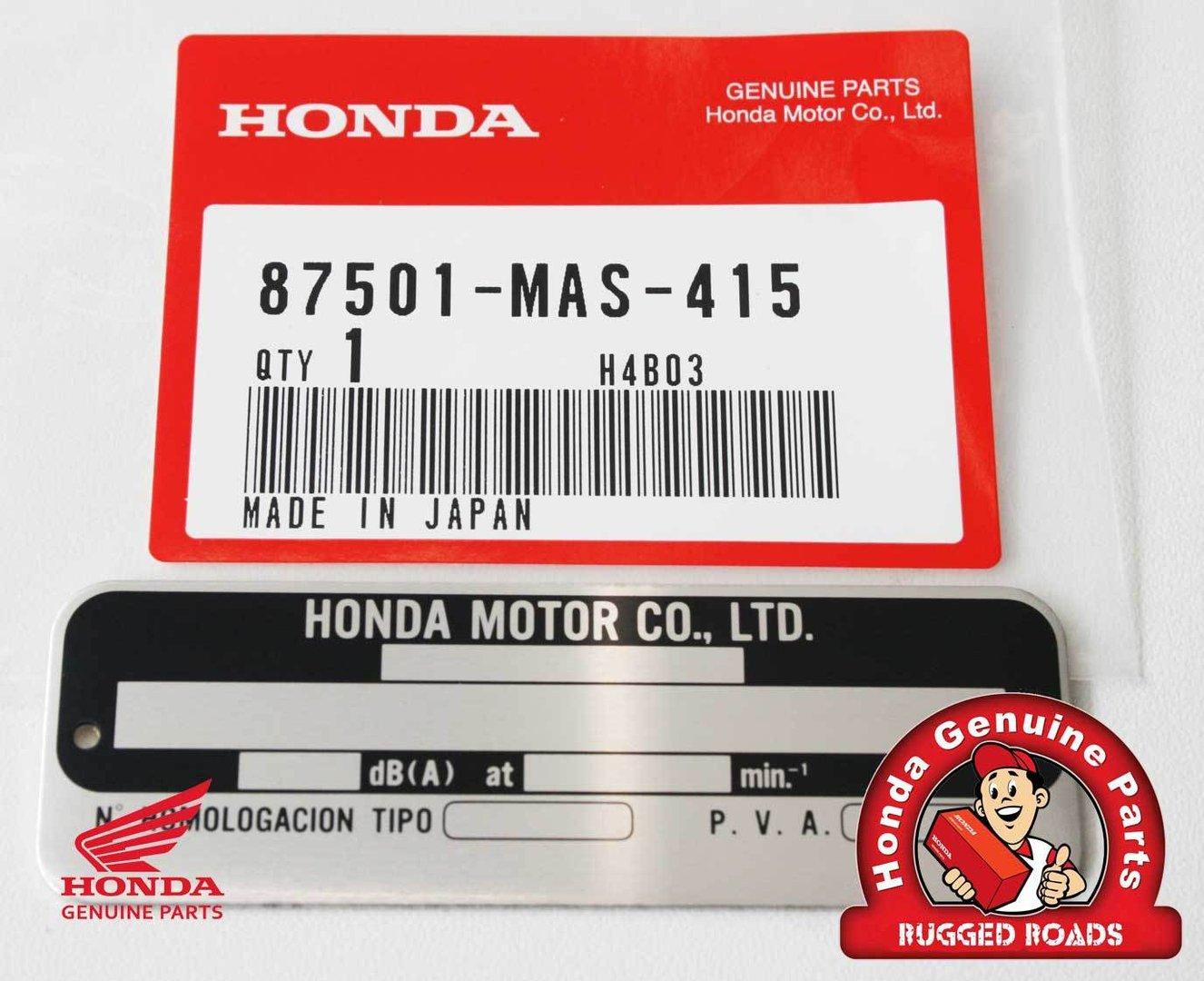 OEM Honda VIN Plate, Aluminium