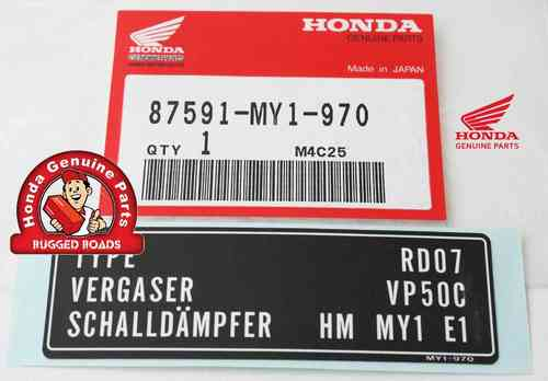 OEM Honda Decal - Carburetor Tamper Proof
