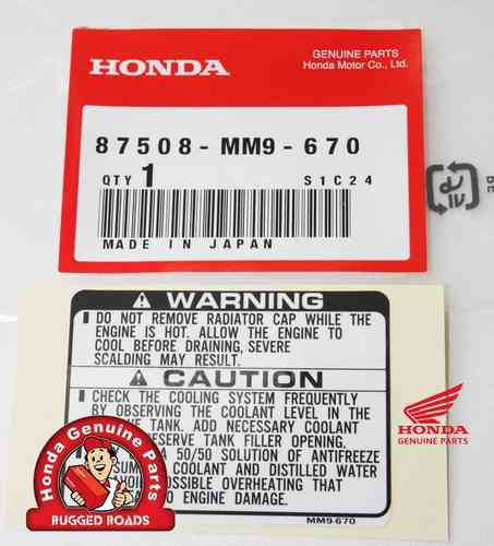 OEM Honda Decal - Radiator