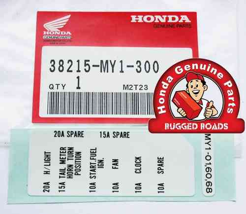 OEM Honda Decal - Fusebox - (RD07/07A) (1993 - 03)