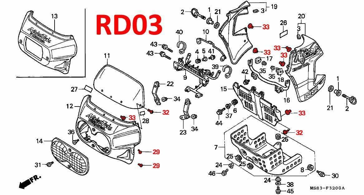fairing fittings kit rd03  1988