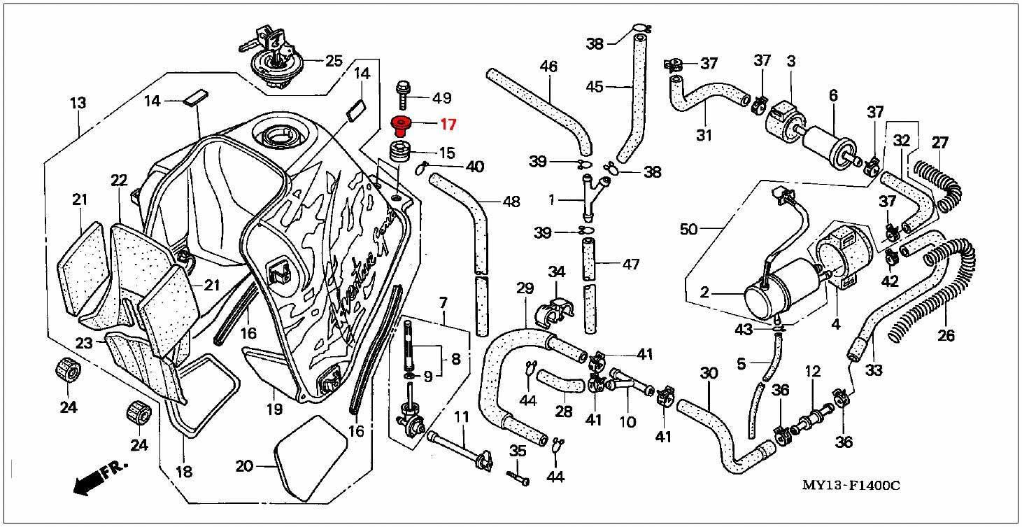 oem honda collar  fuel tank mounting - rd07  07a  1993