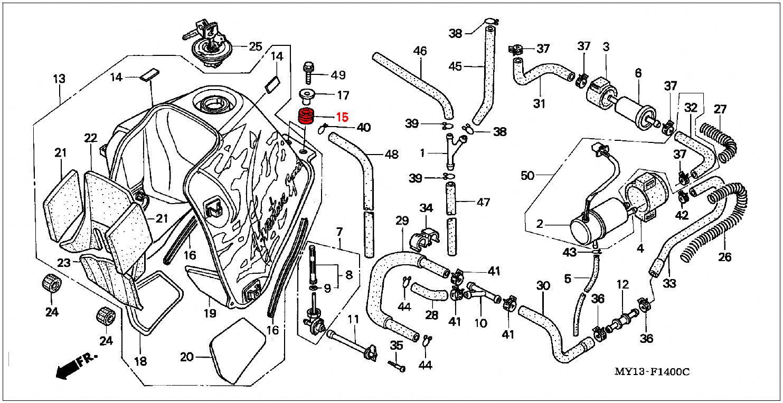 oem honda fuel tank  rubber mounting - rd07  07a  1993