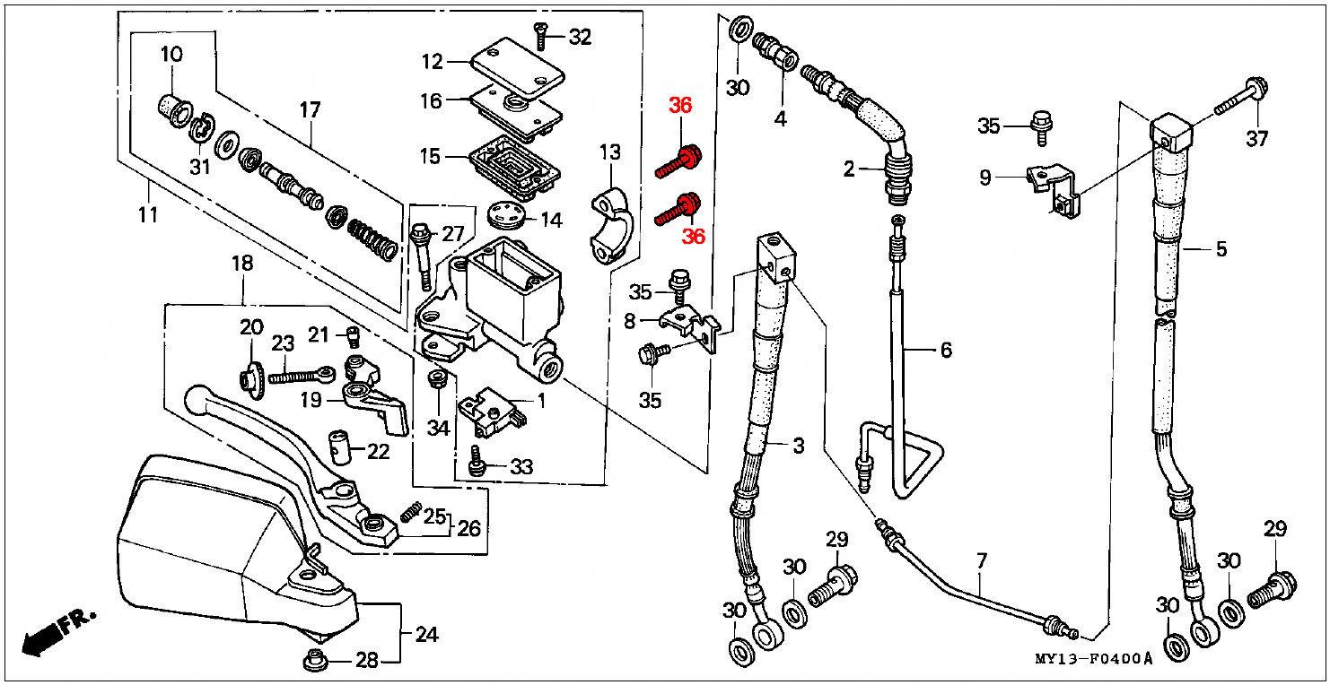 oem honda flange bolt 6x22 front brake reservoir  04