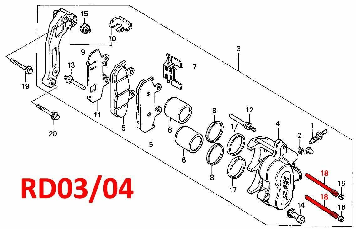Oem Honda Brake Pad Retaining Pin Front Caliper Rd07 07a 1993 Diagram 2003