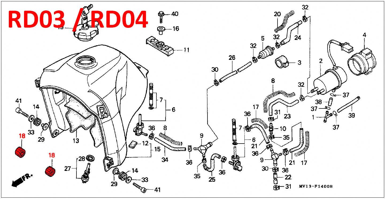 oem honda fuel tank cushion rubber mounting  04  07  07a