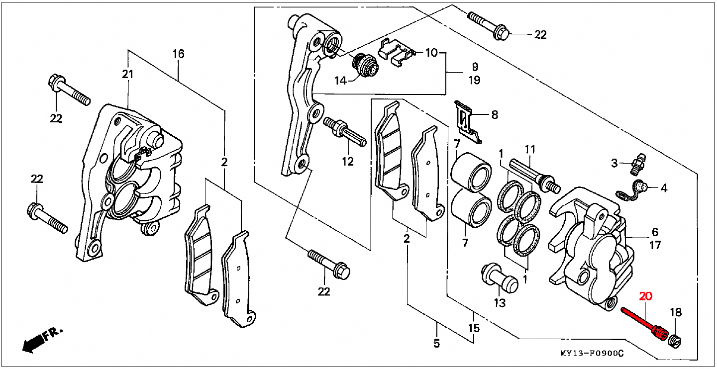 oem honda rear brake pad retaining pin  04  07  07a  1988