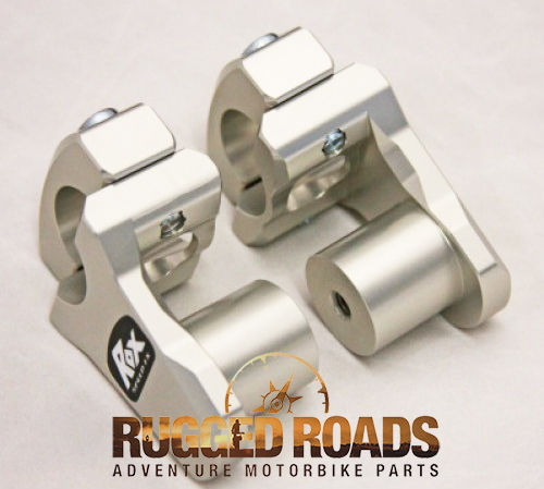 "Rox Risers - Pivoting 1.3/4"" Rise for 28mm handlebars (Fatbars) - SILVER"