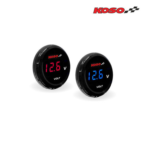 Koso Coin Volt Meter - Blue or Red